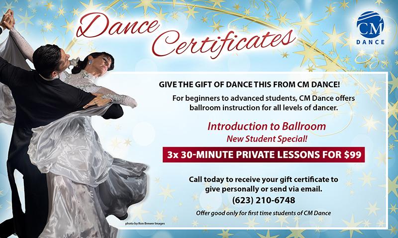 CM Dance Gift Certificate - Ballroom dancing in Phoenix Flagstaff Prescott